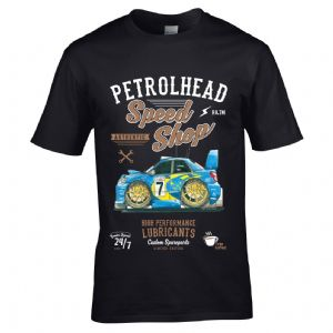 Premium Koolart Petrolhead Speed Shop Motif With Impreza WRX STi Car Image Mens T-shirt Top